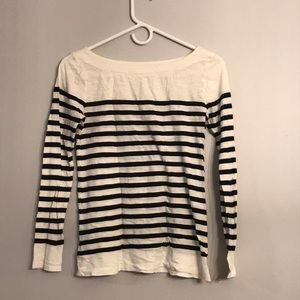 Loft Black and White striped long sleeve SZ S